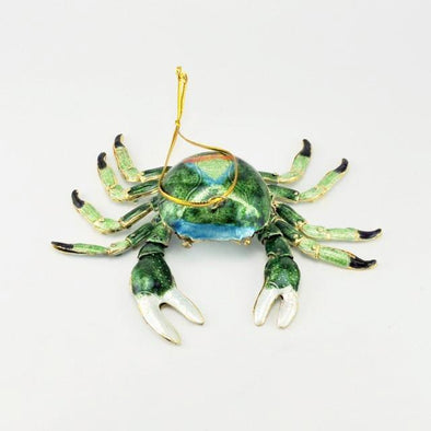 Cloisonné Green Crab Ornament