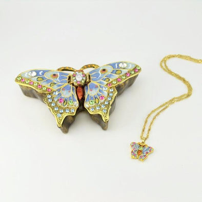 Beautiful Butterfly Enamel Crystal Box