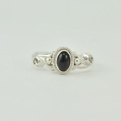 [3037] sterling silver black star diopside 4x6mm oval ring size 8