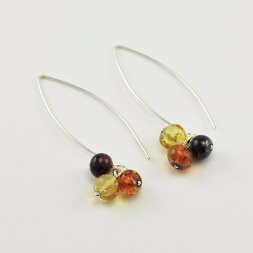 Sterling Silver Baltic Amber Triple Bead Earrings