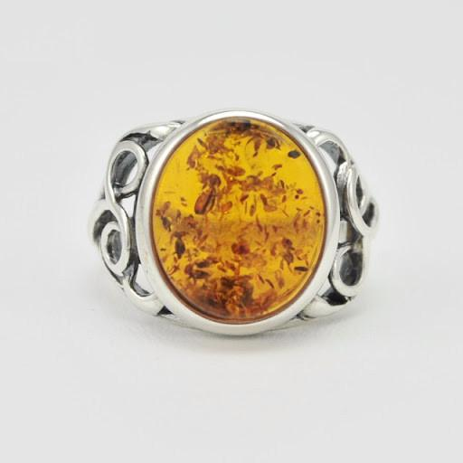 Sterling Silver Baltic Amber Oval Ring