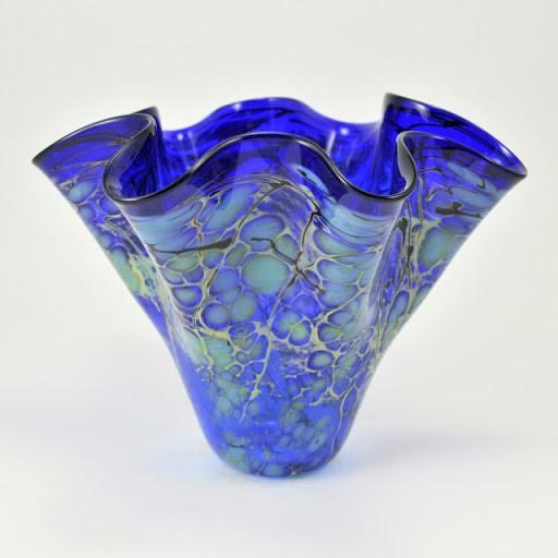 Blue Handkerchief Glass Vase