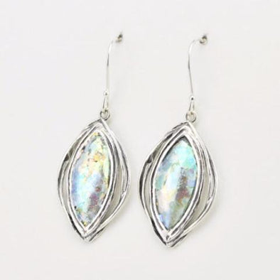 Sterling Silver Colorful Roman Glass Marquise Dangle Earrings