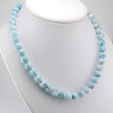 Larimar 10mm Round Bead Necklace