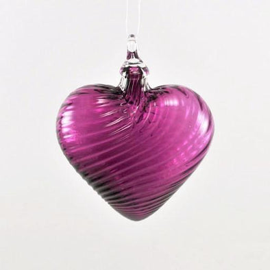 Glass Eye Heart Ornament Cranberry