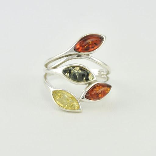 Sterling Silver Multicolored Amber Marquise Ring