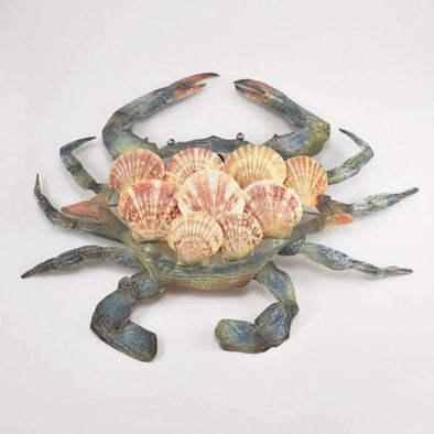 Blue Crab Shell and Metal Wall Hanging