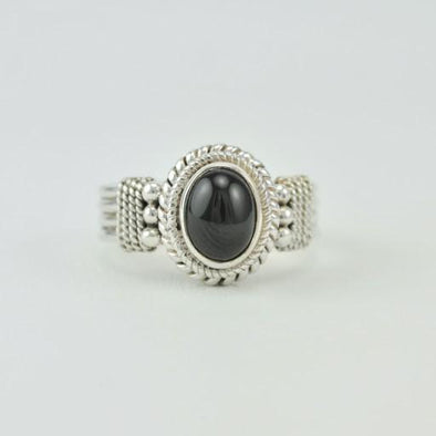 Sterling Silver Black Star Diopside Ring Size 7