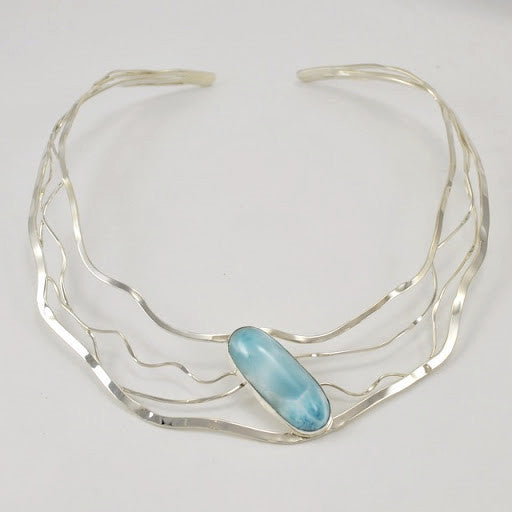 Sterling Silver Larimar Oval Wavy Neck Collar