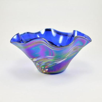 Glass Mini Floppy Bowl Blue Rainbow