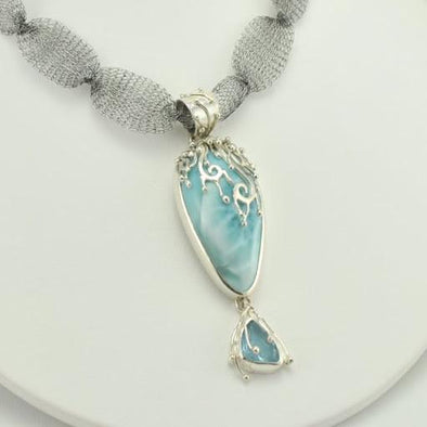 Sterling Silver Larimar and Aquamarine Waterfall Pendant