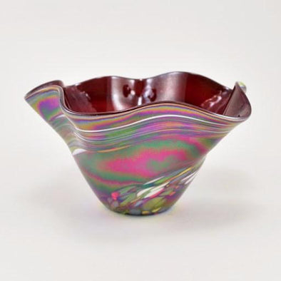 Glass Red Rainbow Mini Floppy Bowl