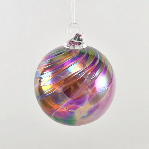 Glass Eye Classic Ornament Pink Feather Chip