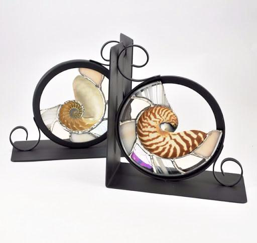 Nautilu Stain Glass Bookends