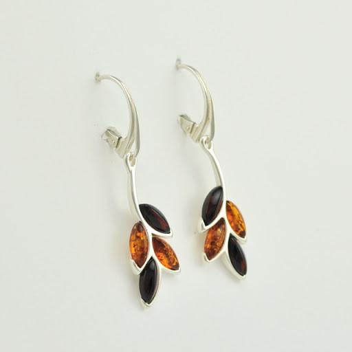 Sterling Silver Baltic Honey and Cherry Amber Earrings