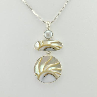 Sterling Silver Nautilus Shell and Pearl Pendant