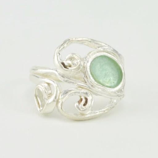 Sterling Silver Roman Glass Oval Swirl Ring Size 8