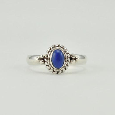Sterling Silver Lapis 4x6mm Oval Ring