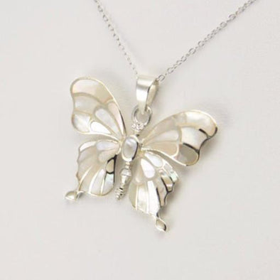 Sterling Silver Mother of Pearl Butterfly Necklace