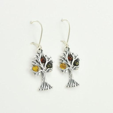 Sterling Silver Baltic Multicolored Amber Tree of Life Earrings