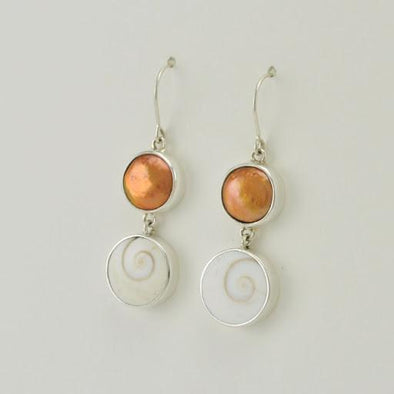 Sterling Silver Bronze Coin Pearl Shiva Shell Dangle Earrings