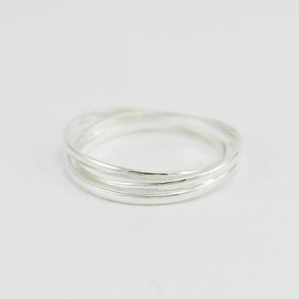Sterling Silver 3 Rolling Band Ring Size 7