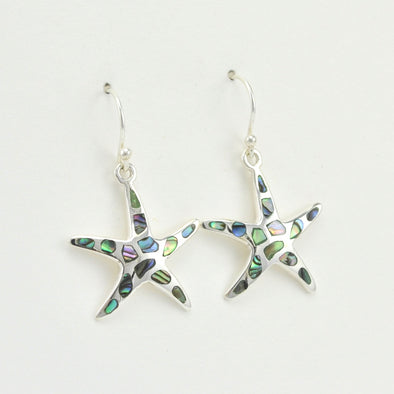 Silver Abalone Starfish Dangle Earrings