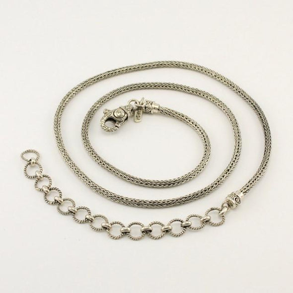 Sterling Silver Handwoven Snake 20 Inch Chain with Extender