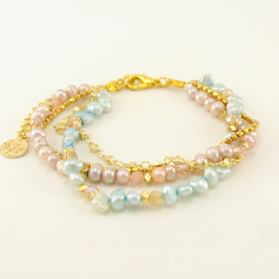 Peach and Aqua Pearl Bracelet
