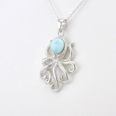 Silver Larimar Octopus Necklace