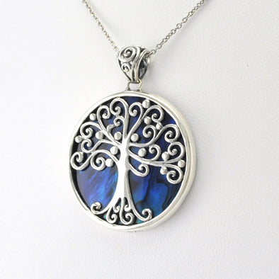 Silver Blue Abalone Tree of Life Pendant