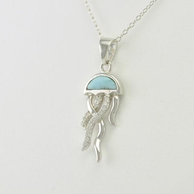 Sterling Silver Larimar Jellyfish Necklace