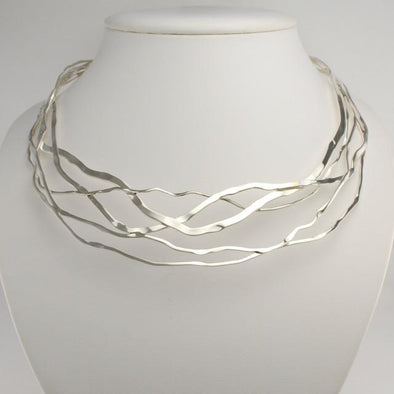 "Sterling Silver Wavy 16"" Neck Collar"