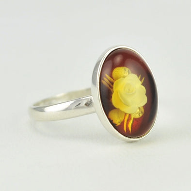 Sterling Silver Amber Intaglio Rose Ring Size 7