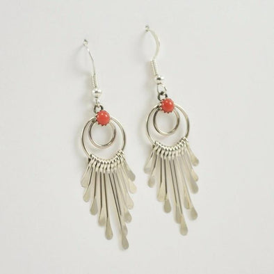 Sterling Silver Red Coral Circle Shimmer Dangle Earrings