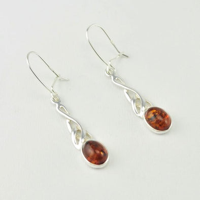 Sterling Silver Baltic Amber Celtic Dangle Earrings