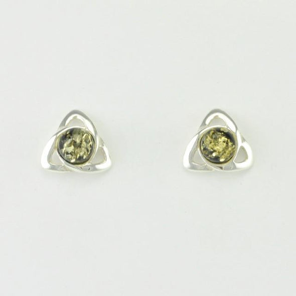 Sterling Silver Baltic Green Amber Trinity Post Earrings