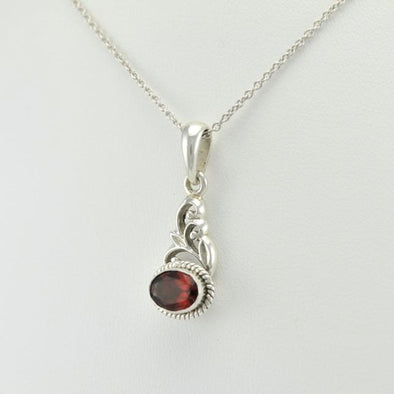 Sterling Silver Oval Garnet Scroll Pendant