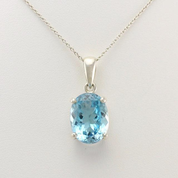Sterling Silver Blue Topaz 12x16mm Oval Pendant