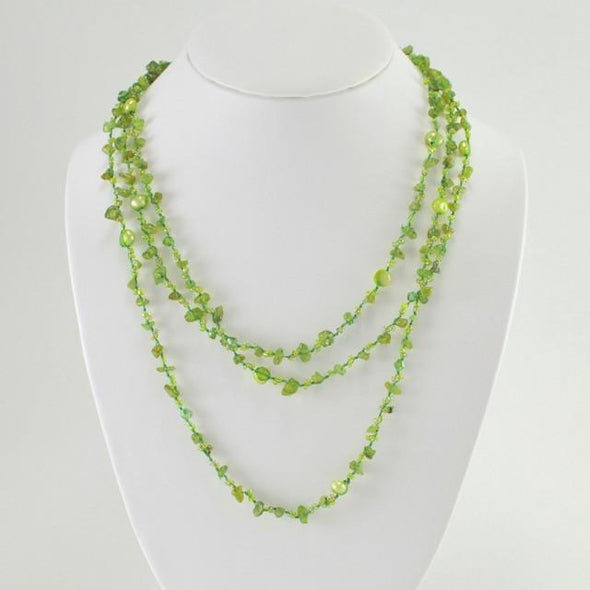 "Japanese Silk Peridot, Pearl and Crystal 63"" Wrap Necklace"
