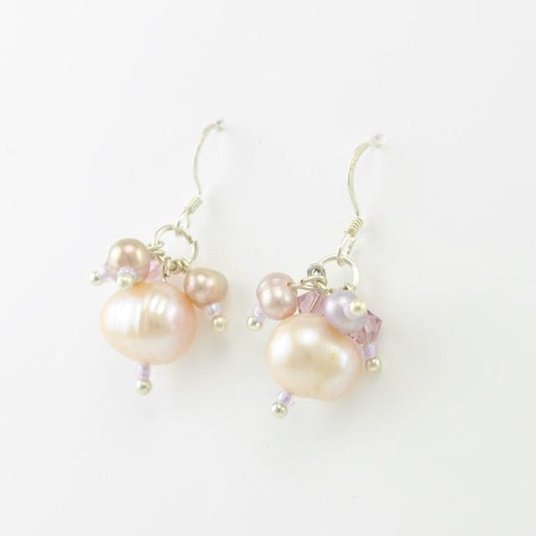 Sterling Silver Pink Pearl and Crystal Dangle Earrings