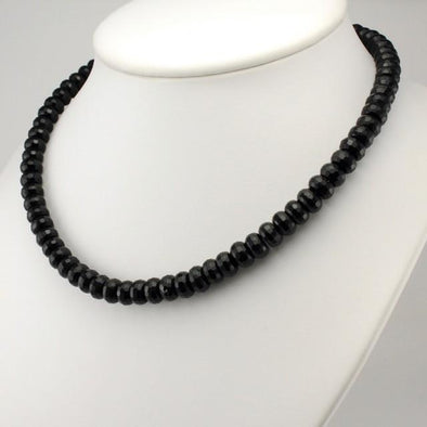 Sterling Silver Facet Black Onyx Rondelle Necklace