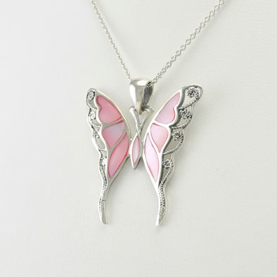 Sterling Silver Pink Shell Butterfly Pendant