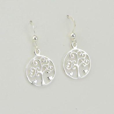 Sterling Silver Tree of Life Dangle Earrings
