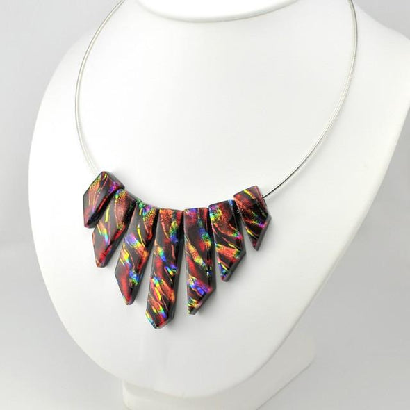 "Dichroic Glass Rainbow Red 18"" Cleopatra Necklace"