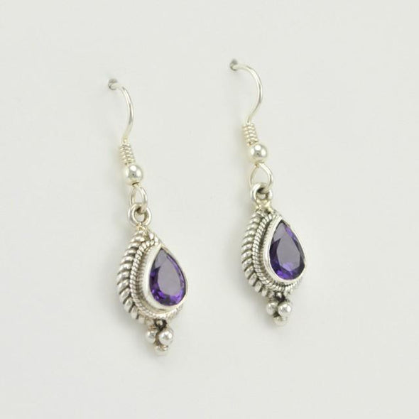 Sterling Silver Amethyst Teardrop Dangle Earrings