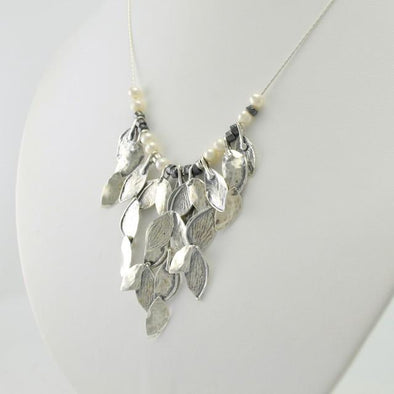 Sterling Silver Marquise Cluster Necklace
