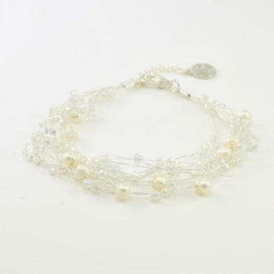 Japanese Silk Pearl Crystal and Faceted Glass Bracelet