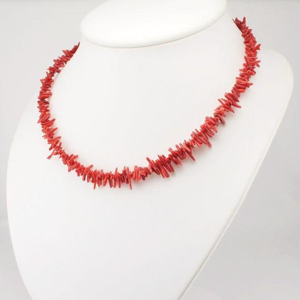 Sterling Silver Branch Coral 16 to 18 Inch Necklace