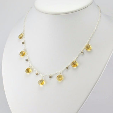 Sterling Silver Citrine Briolette Necklace